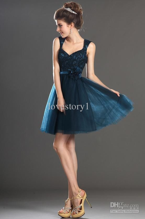2014 Royal dark teal lace applique A-Line mini party dress short ...