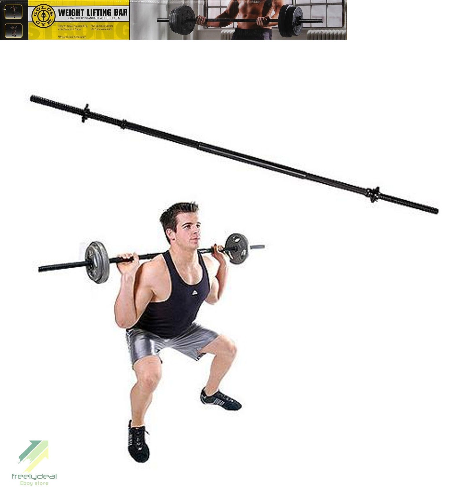 Barbells And Attachments 137864 New Gold S Gym Standard 5 Ft Weight Lifting Bar Fitness Exercise Workout Buy It Now Only 22 99 On Ebay
