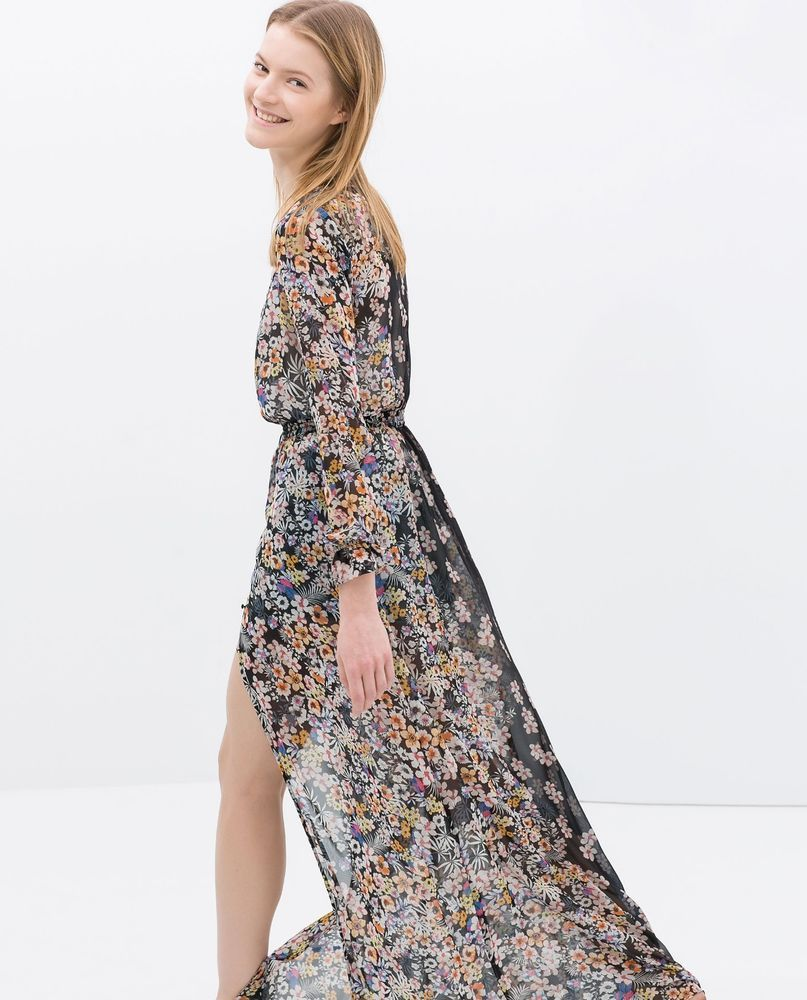 New With Tags Genuine Zara Floral Printed Long Sleeve Maxi Dress Size M 28 Zara Maxi Long Sleeve Chiffon Maxi Dress Maxi Dress Long Sleeve Maxi Dress