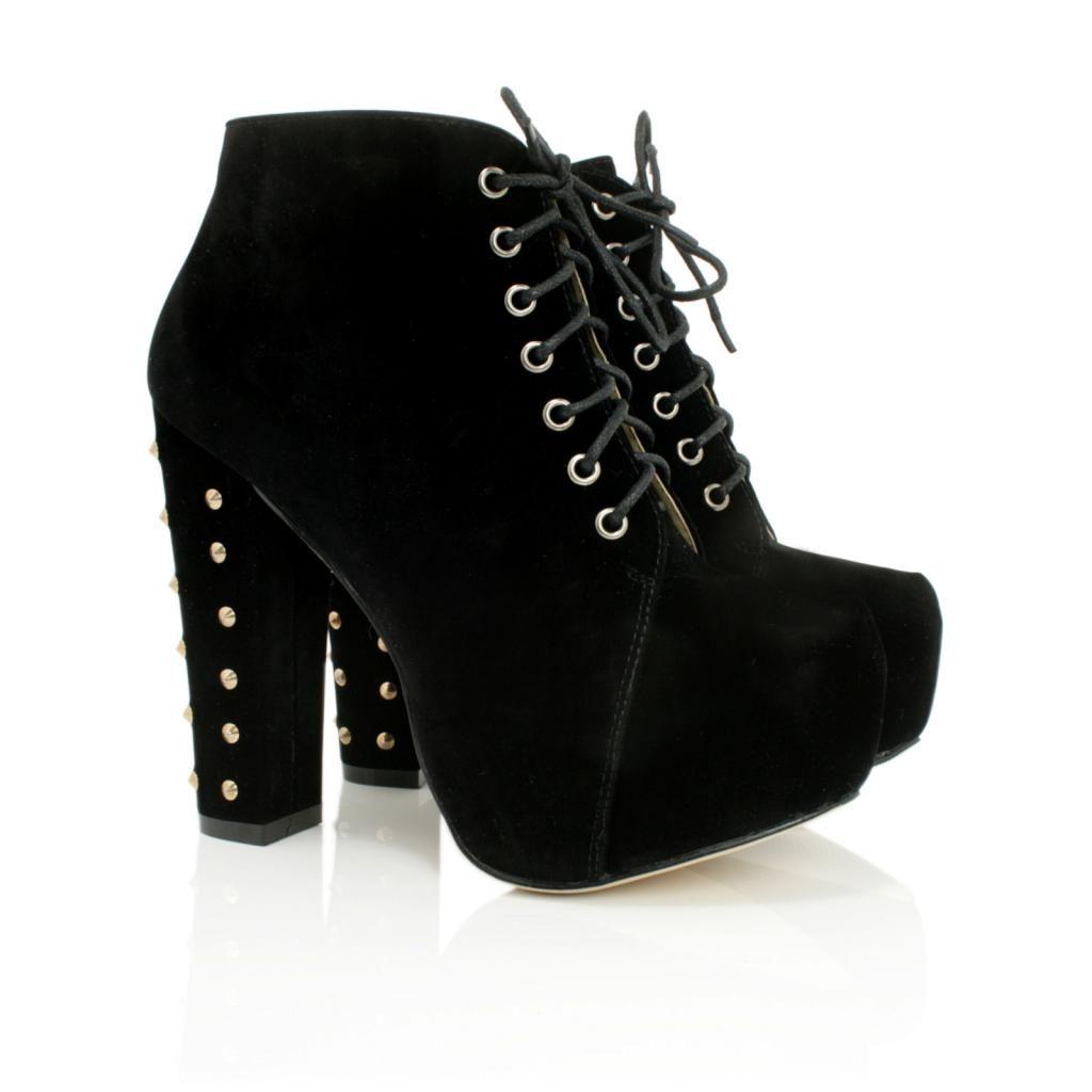 Neu Damen Stiefeletten Ankle Boots Schuhe Blockabsatz Plateau Schnür
