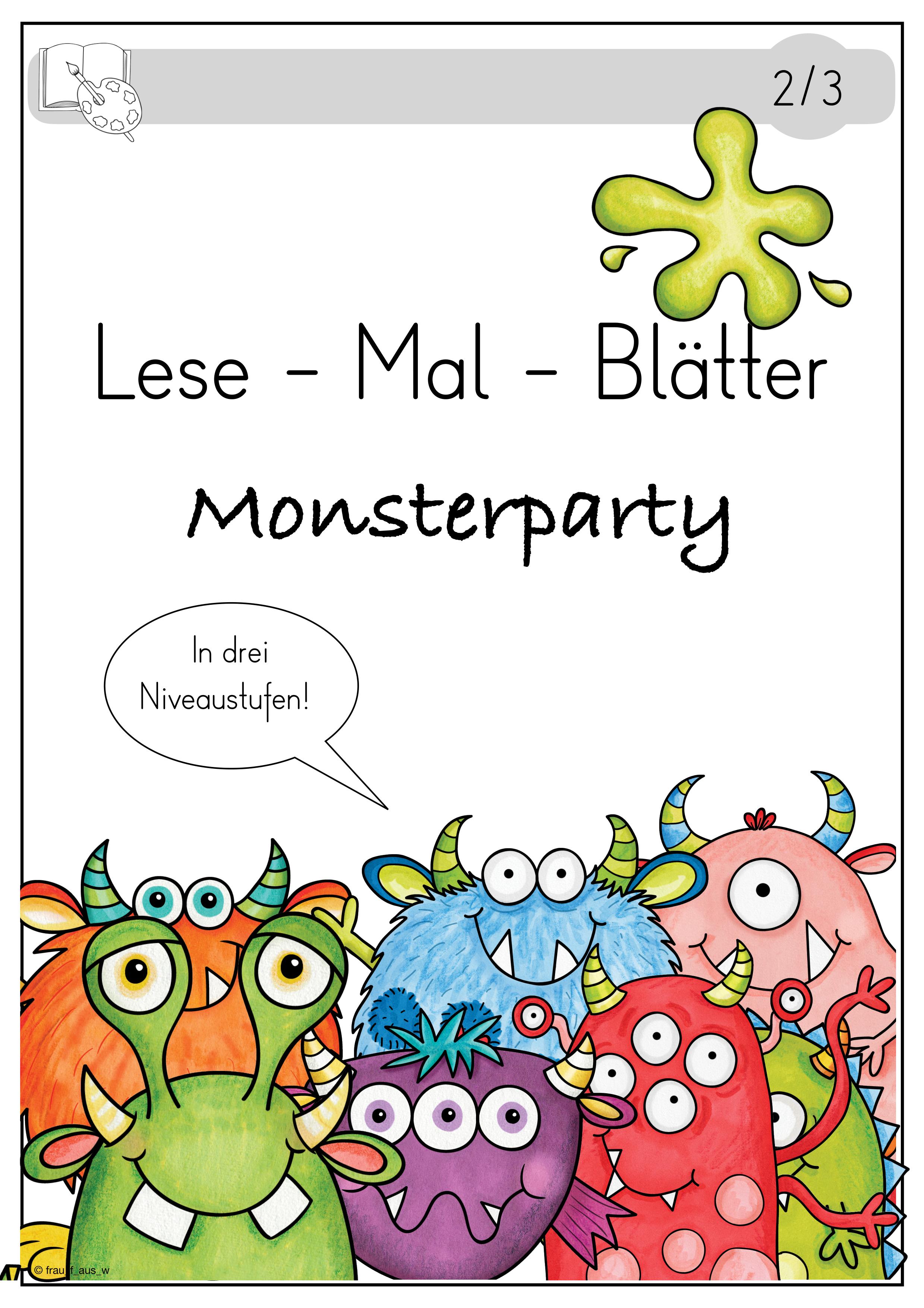 lesemalblätter monsterparty 3fach differenziert