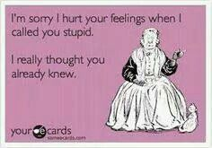 Sorry I hurt your feelings when I called you stupid