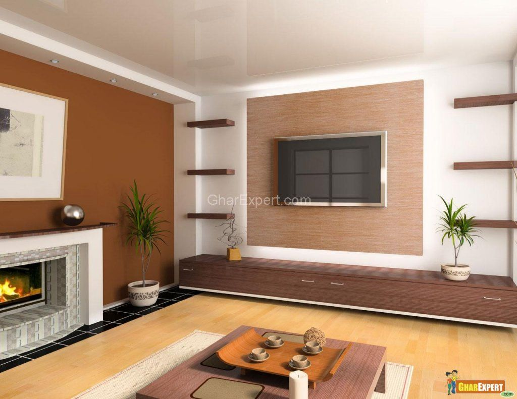 Living Room Color Ideas Spacious Bright Living Room Design With Television Wall Unit On Brown And Blue Living Room Living Room Color Living Room Color Schemes