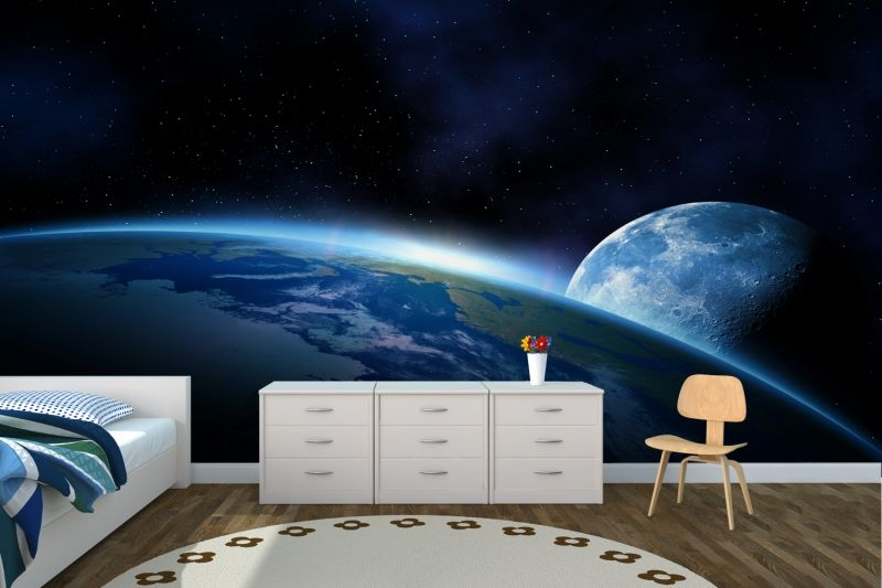 Earth and moon space wallpaper wall mural wallpaper for Earth rising wall mural