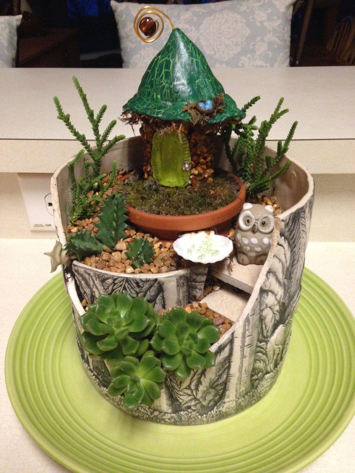 fairy garden from a broken pot