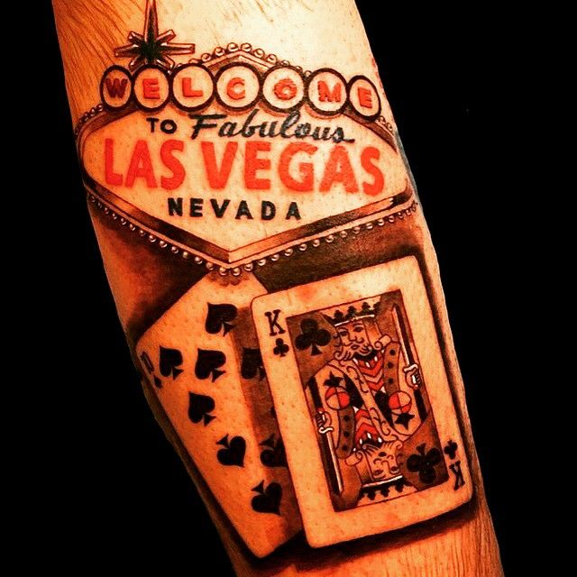 Welcome To Las Vegas Tattoo, Traditional, Poker.