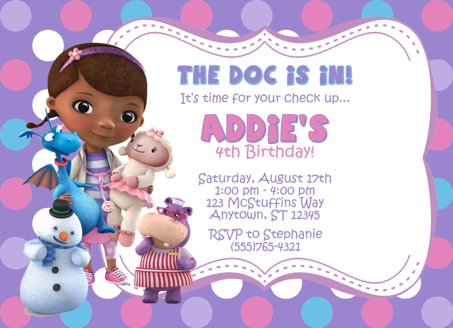 Doc Mcstuffins Invitation by partypassiondesign on Etsy ...
