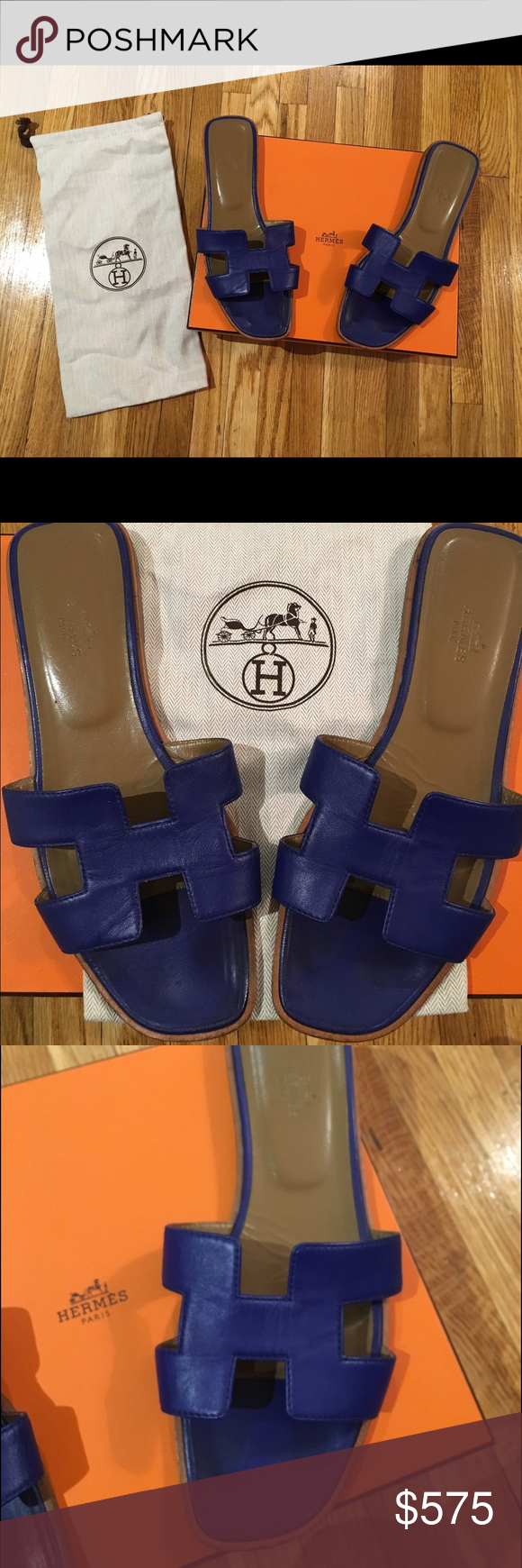 "Hermes ""H""  Oran Sandals Hermes ladies ""H"" sandal in calfskin, with a leather sole. Great condition! Hermes Shoes Sandals"