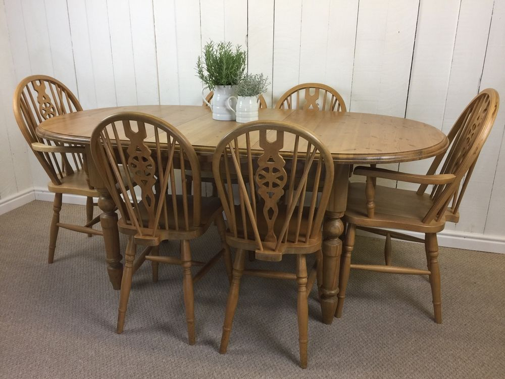 Rustic Farmhouse Extendable Pine Table and 6 wheel back