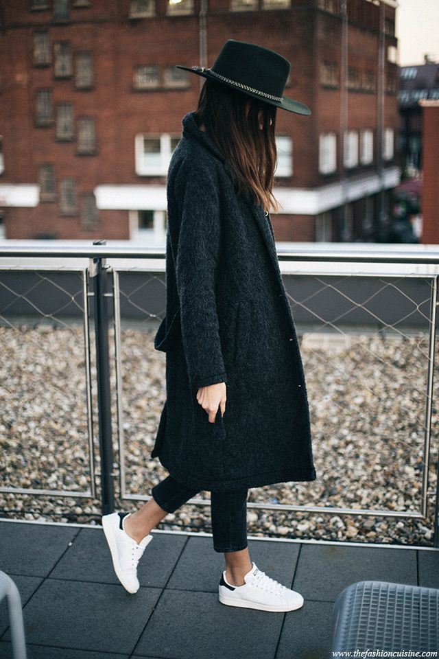 low priced 84a34 a2a31 Grey coat, cropped black jeans, fedora   Stan Smith    styleminimalism
