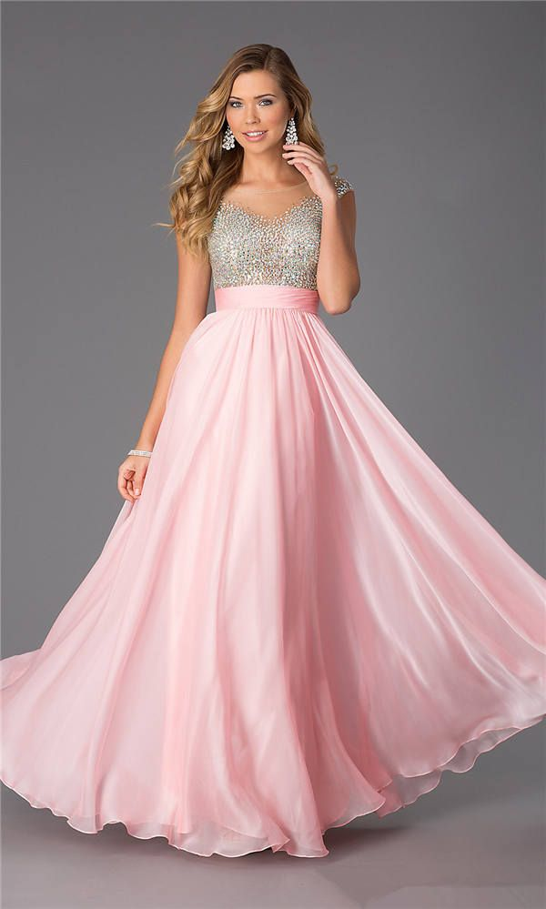 Long Pink Sparkly CD-1112 High Neck Evening Dresses | long pink prom ...