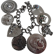 1950-60's Sterling Silver Charm Bracelet & Big Jeweled Charms