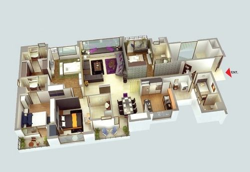 4 Bedroom Luxury Apartment Plan House Apartment Plans In 2019