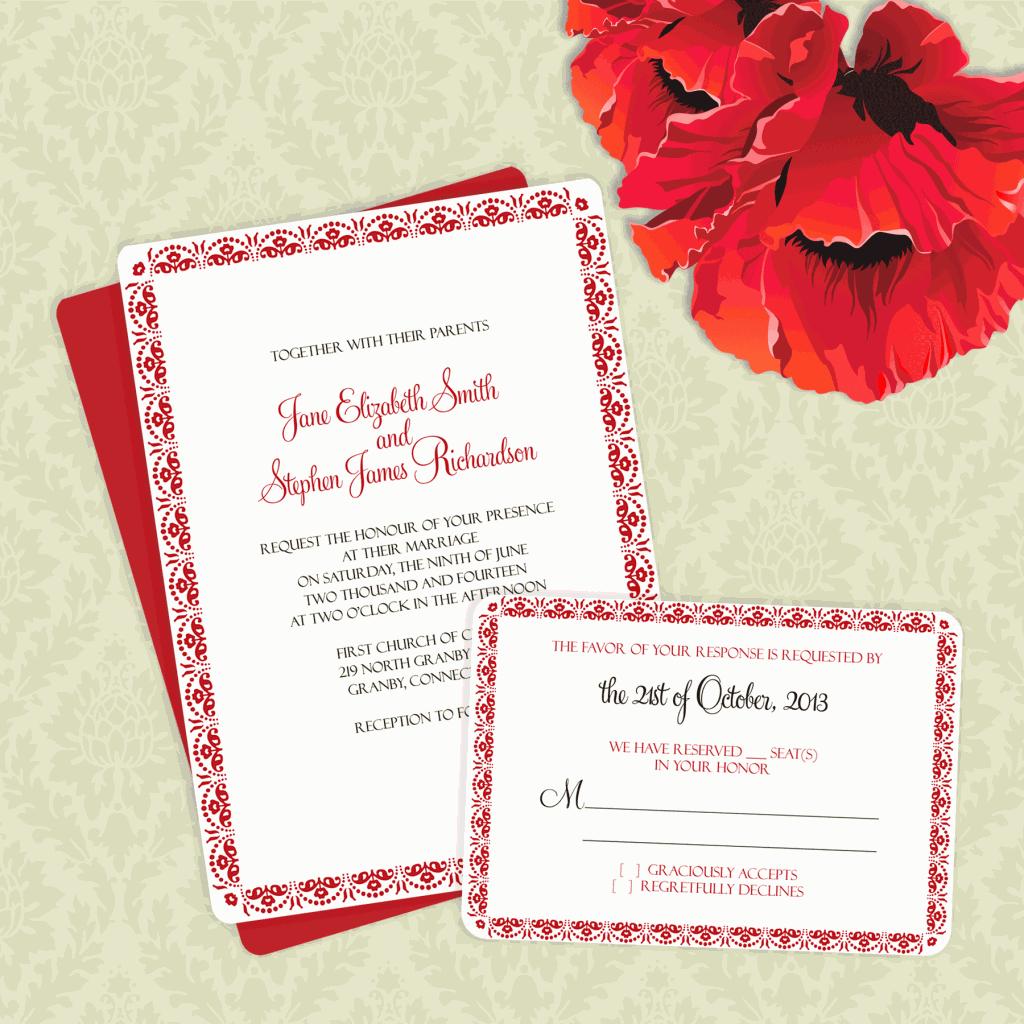 Print Wedding Invitations At Home: FREE PDF Downloads. Floral Scallop Border Invitation And
