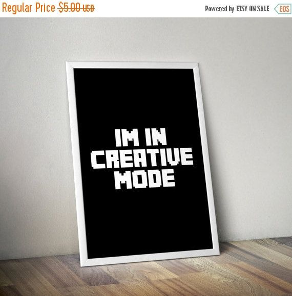 ON SALE Typography Minecraft Inspired Creative Living Room Decor Wall Home Craft Man Cave