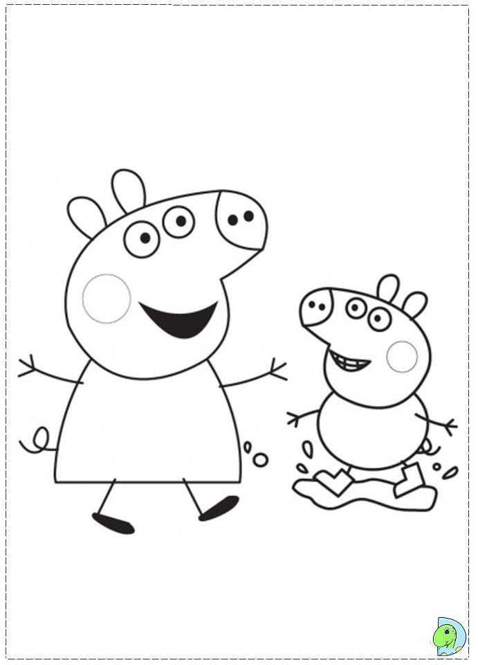 Peppa Pig Coloring Page Dinokids דפי צביעה למאיה וחברים