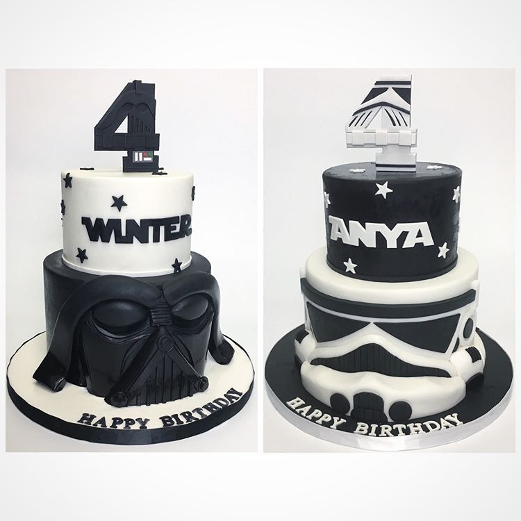 Brilliant Star Wars Twin Cakes And Customized 4 Toppers Deliciousarts Personalised Birthday Cards Paralily Jamesorg