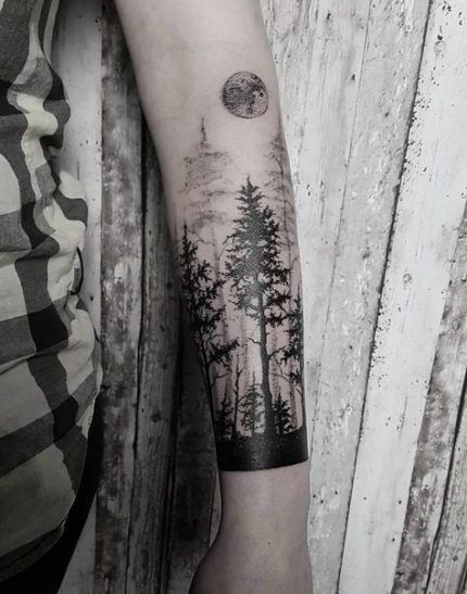 Pine Tree Forest Tattoo : forest, tattoo, Ideas, Tattoo, Sleeve, Nature, Sleeve,, Tattoo,, Forest