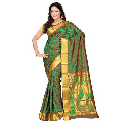 Varkala Pakistani Greeb and Red Paithani Theme Pallu Saree Silk Sarees on Shimply.com