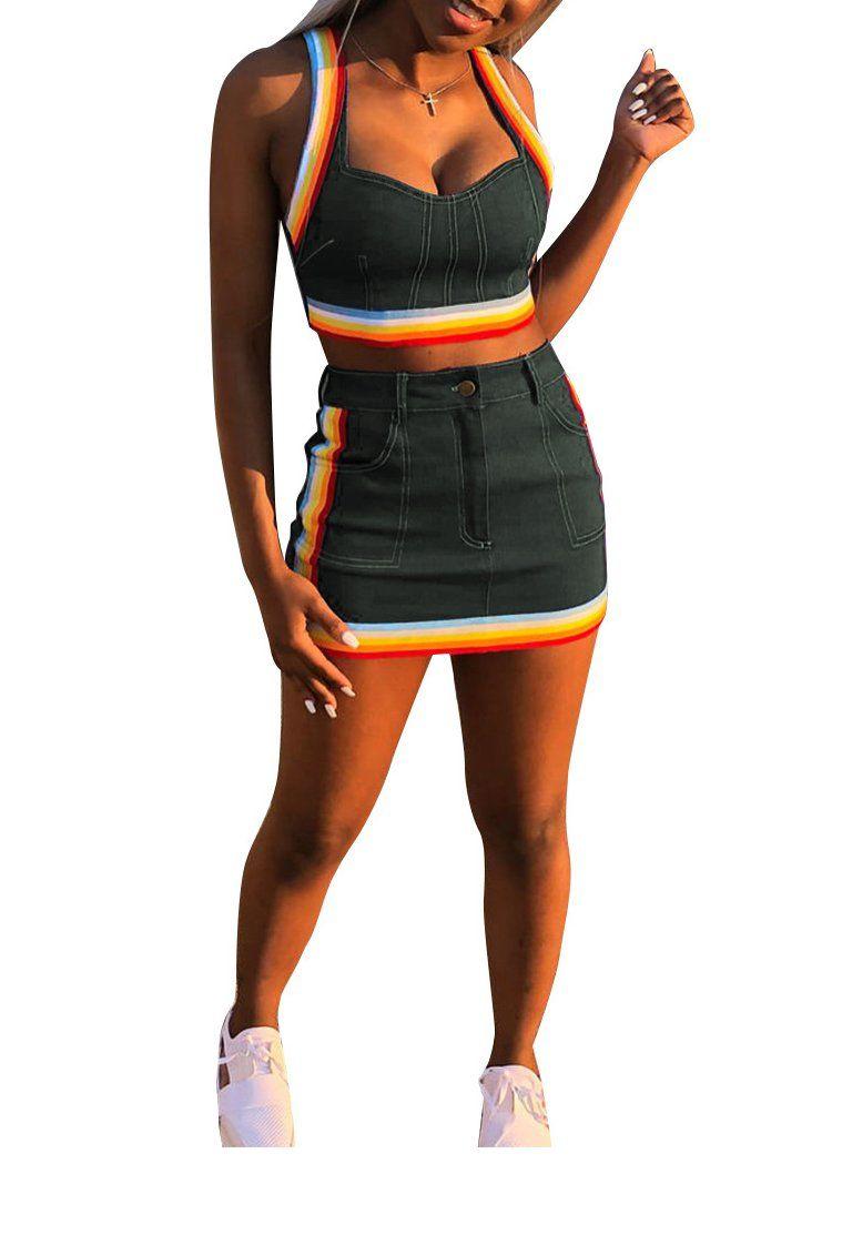 db6e413b92046 Ophestin Women Sleeveless Denim Rainbow Stripe Tank Crop Top Short Skirts  Set 2 Piece Mini Dress Black L *** To view further for this item, visit the  image ...