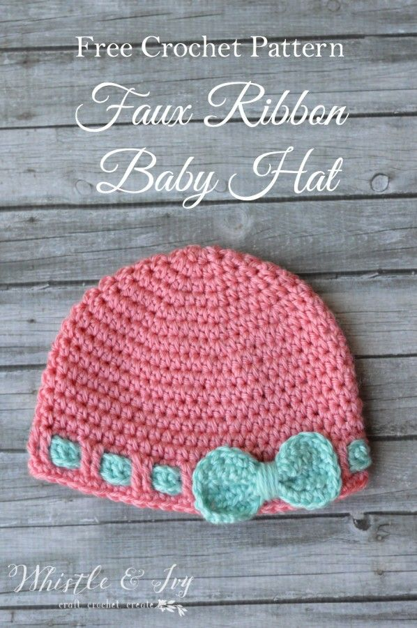8af32fc6a09 Free Crochet Pattern- Faux Ribbon Baby Hat. Make this cute and easy baby hat