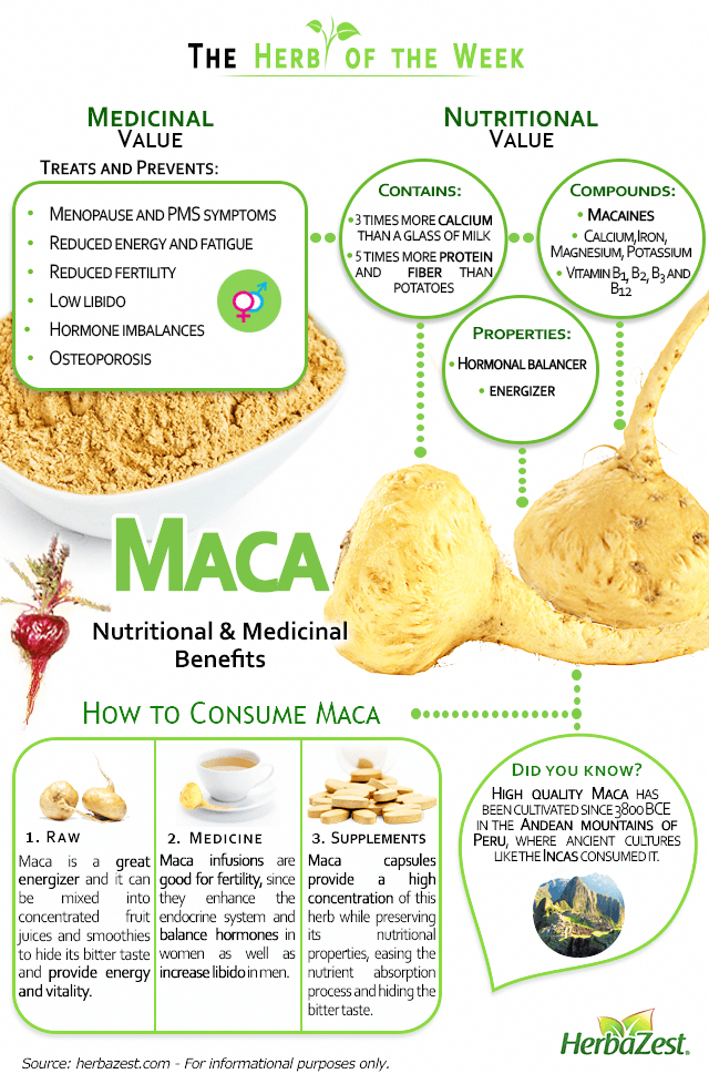 HerbaZest - Infographic Maca. Relieves menopause symptoms and hormonal balance related conditions. T