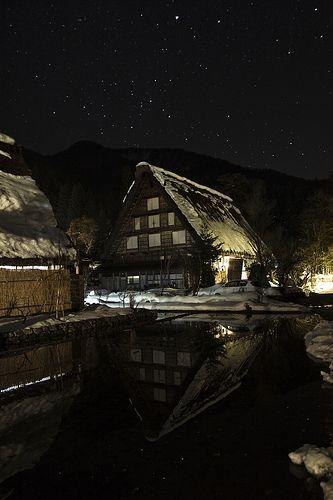 Farmhouse reflection and starry sky, Shirakawa-go