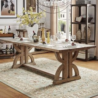 SIGNAL HILLS Benchwright Rustic Pine Trestle Reinforced Dining ...