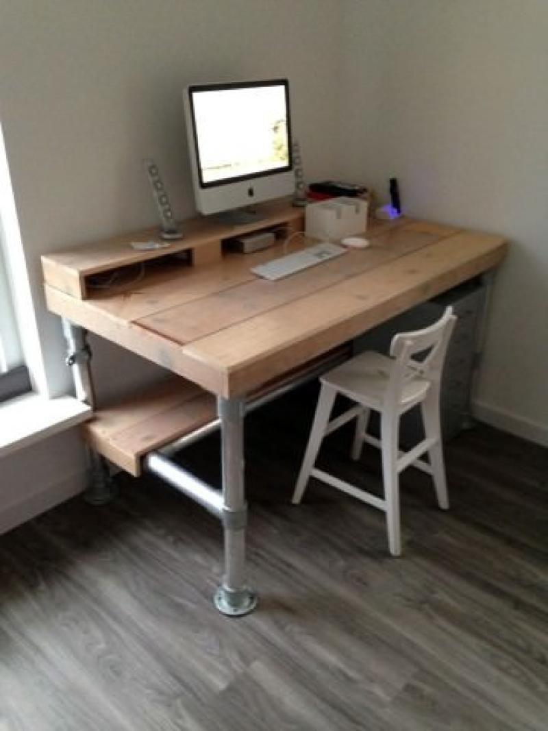 bureau werkplek van steigerbuis nieuw huis pinterest. Black Bedroom Furniture Sets. Home Design Ideas