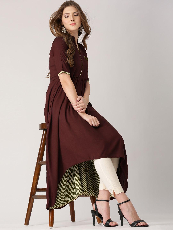 c850e59520 Libas Women Brown Solid High-Low A-Line Kurta | Women's Kurti | A ...