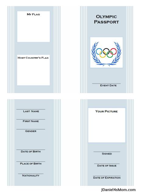 Olimpiadas para niños: Pasaporte para imprimir gratis con ...