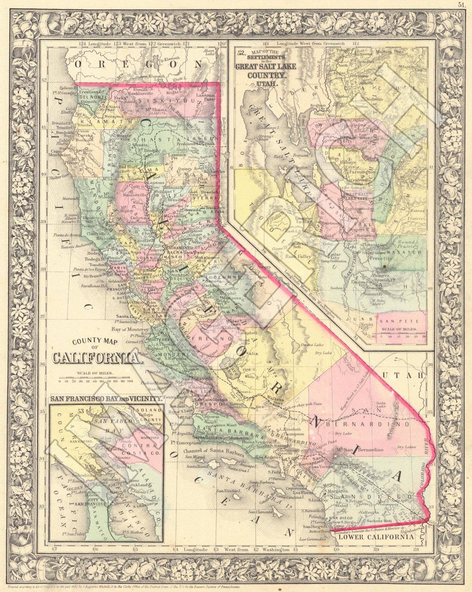 Vintage State Map California 1860 by Imagerich on Etsy