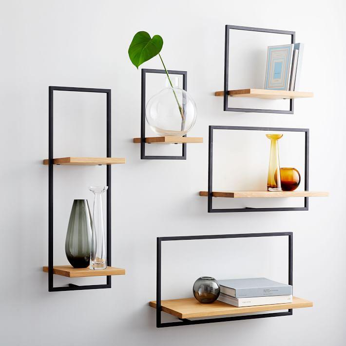 Shelfmate Wood & Metal Long Horizontal Shelf - Oak/Black
