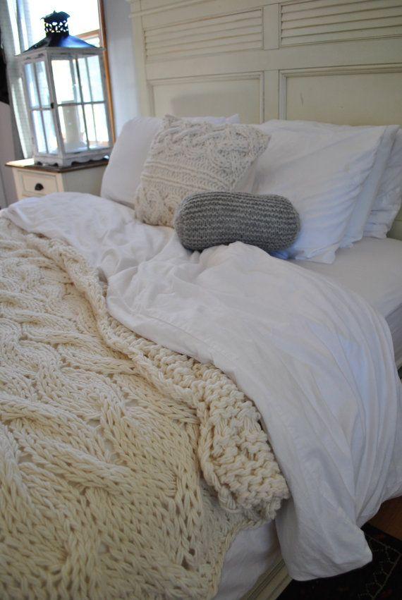 Chunky Cable Knit Blanket In Cream Irish Wool Throw Twin Full