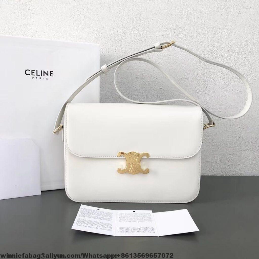 7e0f1196c3 Celine Shiny Calfskin Medium Triomphe Bag 2019