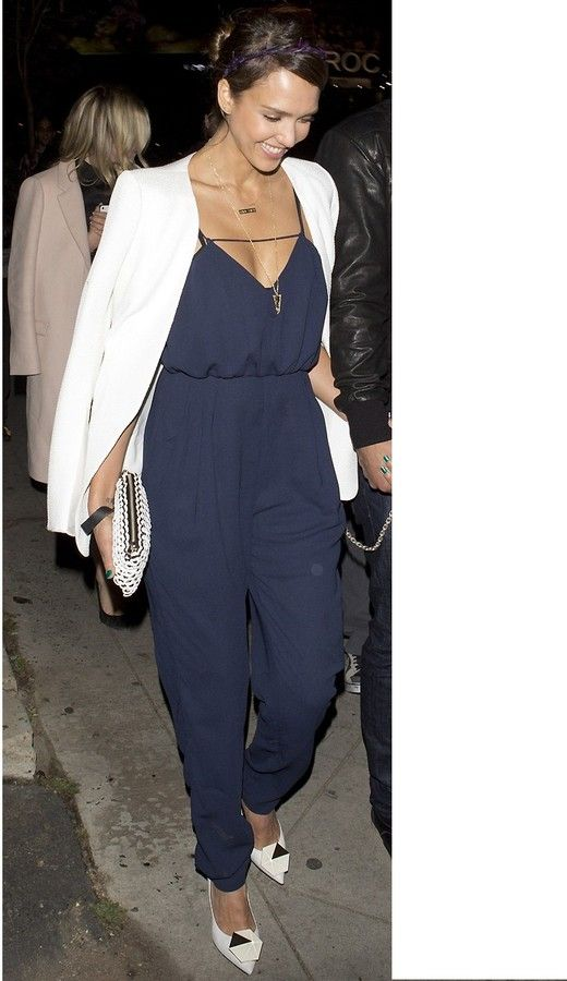 abcf202ad033 Finders Keepers The Someday Jumpsuit in Dark Navy as seen on Jessica Alba  on shopstyle.com