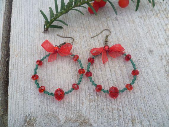 Green Red hoop earrings Hoop earrings with by HamelinsSecretGarden, $15.00