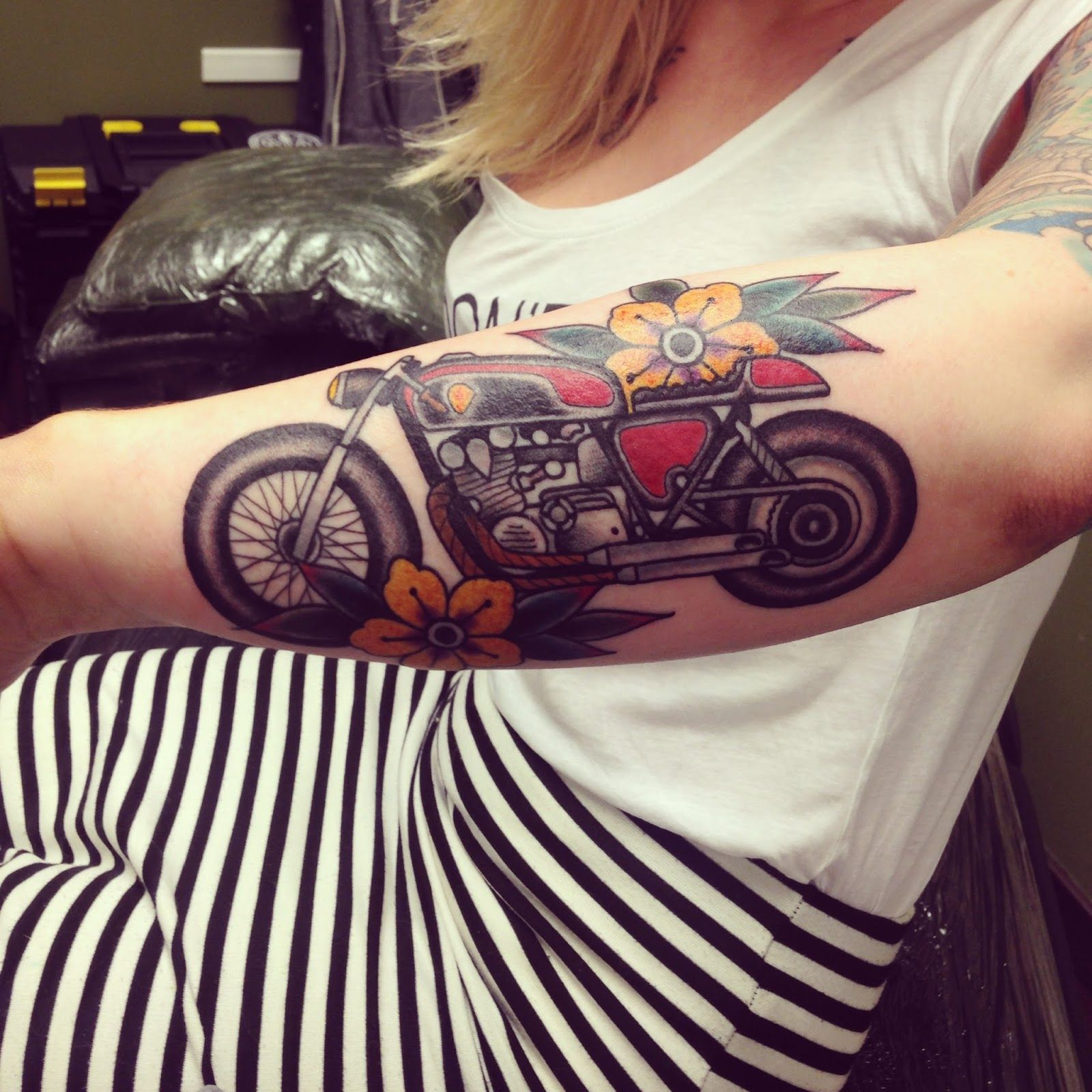 Motorcycle with biker tattoo - Rad Motorbike Tattoo More
