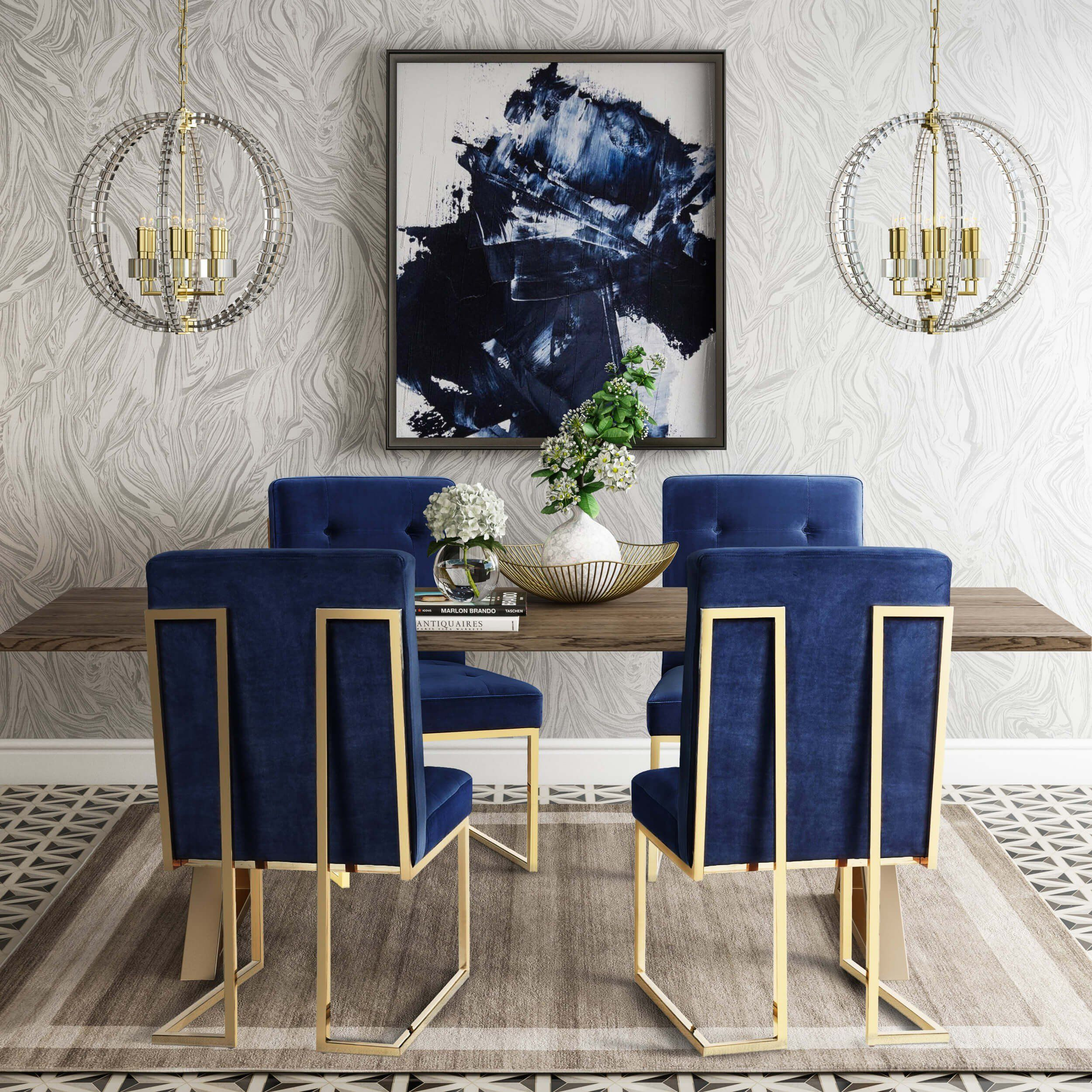 Akiko Chair Navy Set Of 2 Chairs Benches Dining Furniture Dining Room Sets Modern Dining Table Room Decor