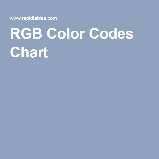 Rgb Color Codes Chart Photoshop Pinterest Rgb Color Codes And