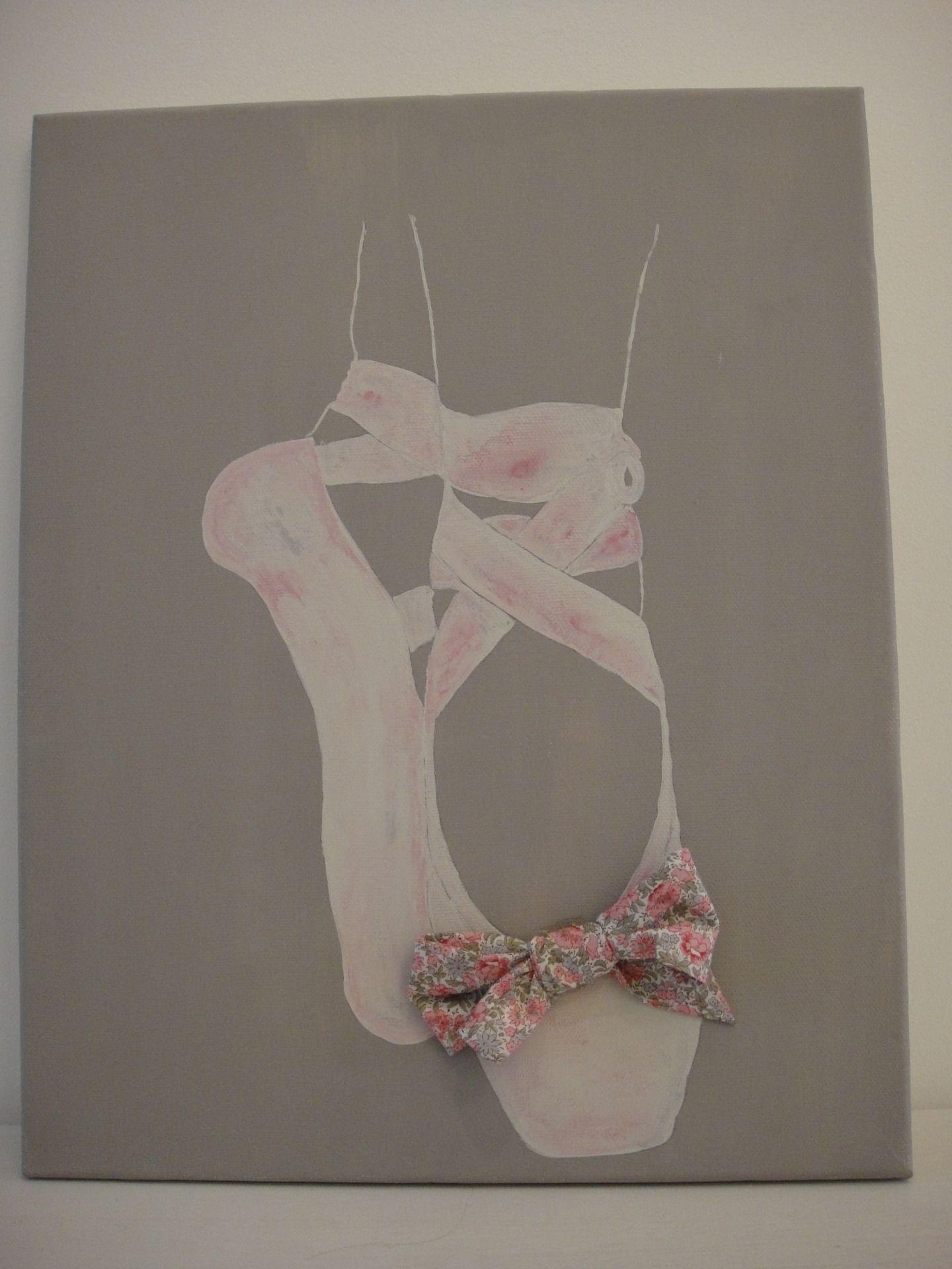 Tableau ballerines de danse et Liberty sur toile de coton