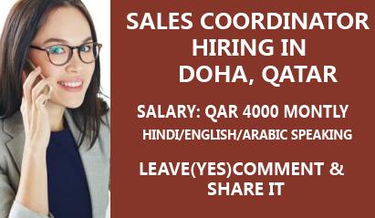 Sales Coordinator Job Opens Hiring In Doha Coordinator Job Marketing Skills Job Portal Website