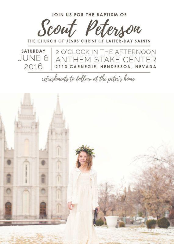 Lds baptism invitation, modern baptism invitation, printable baptism ...