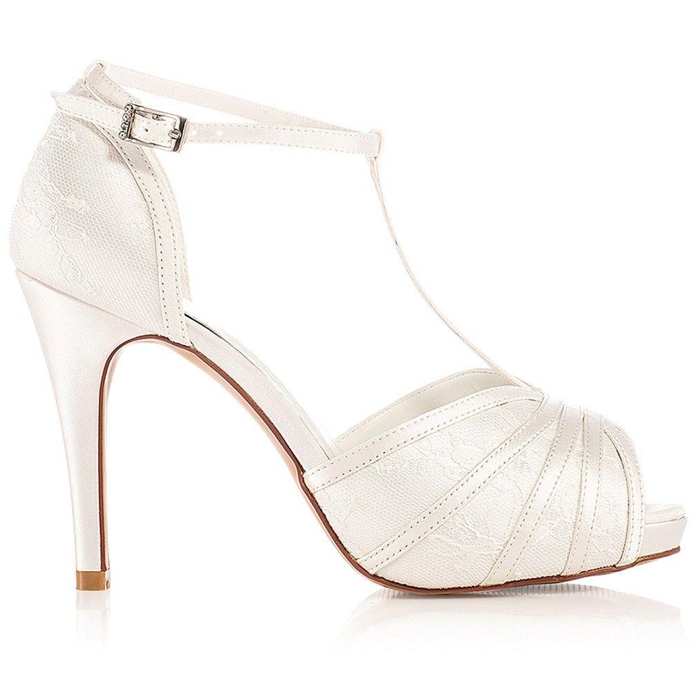 0ca085192b70 Chaussure mariage ivoire en dentelle à bout ouvert talon 11 cm - Scarlett -  Westerleigh