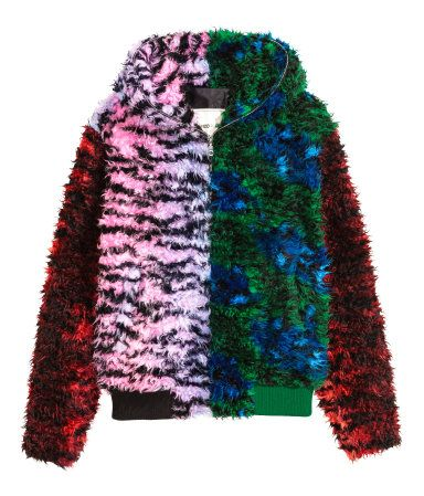 61c5d773e Pink/green. KENZO x H&M. Jacket in faux fur with tiger stripes. Zip ...