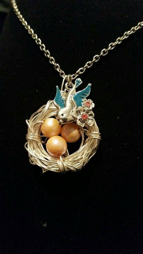 Birds nest necklace with bird pendant birds nest pendant pearl birds nest necklace with bird pendant birds nest pendant pearl silver birds nest necklace aloadofball Choice Image