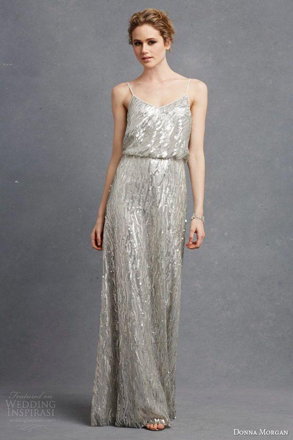 cfc0aeeb29c donna morgan bridesmaid courtney dress metallic sequin silver blouson  sleeveless dress straps