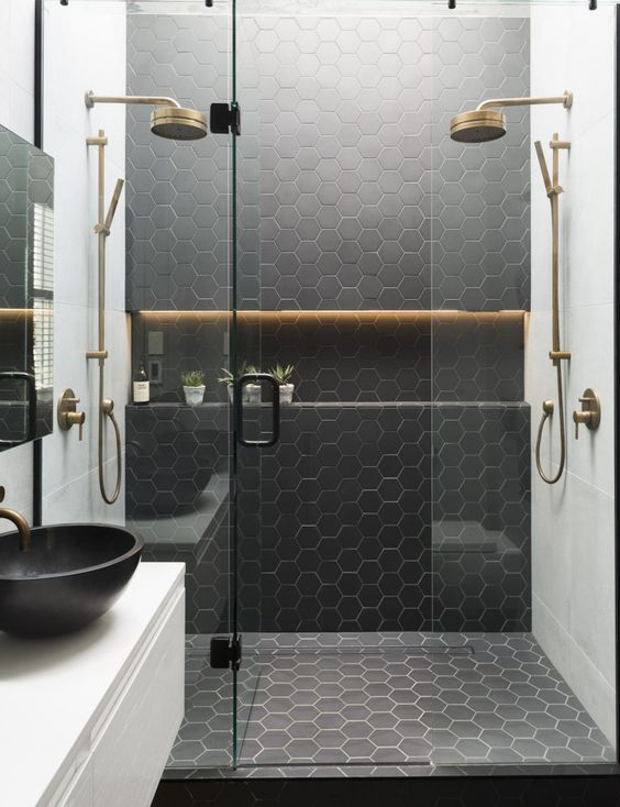 Black Honeycomb Tiles In The Shower To Highlight The Zone Front - Honeycomb tile bathroom