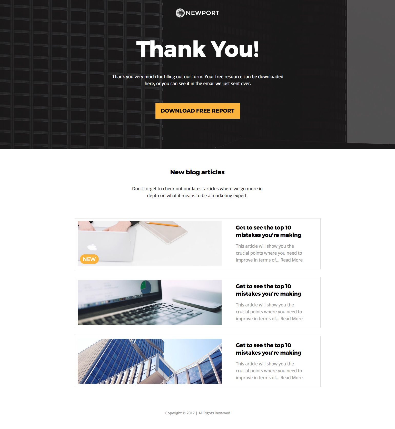 thank you page template free download
