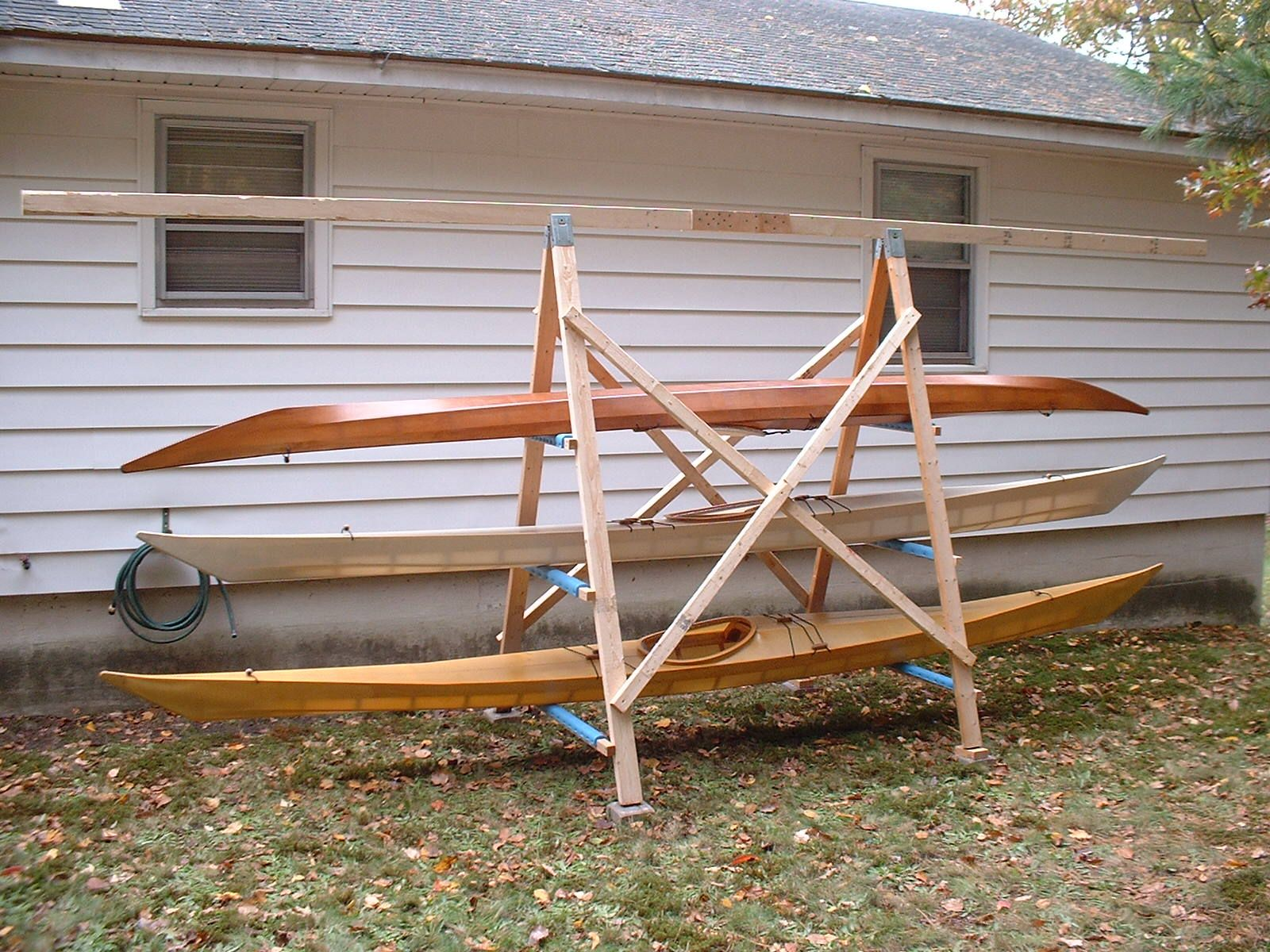 A Simple A Frame Kayak Storage Rack Briannystrom Com Kayak Storage Rack Kayak Storage Canoe Storage Diy backyard kayak rack